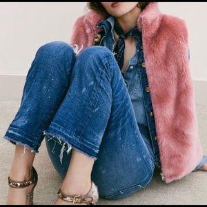 JCrew Pink Faux Fur Vest Size Petite XS
